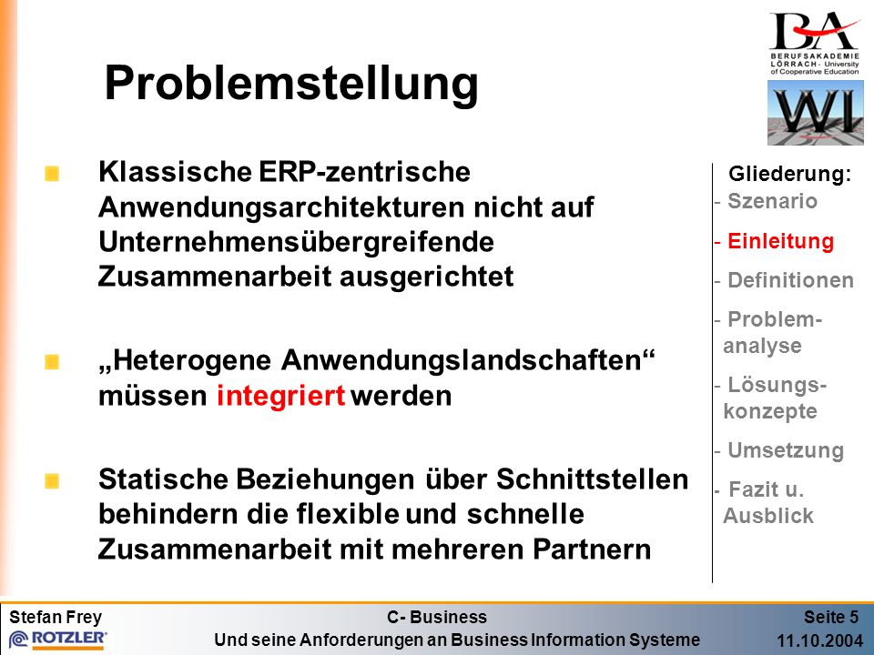 ProblemstellungKlassische ERP-zentrische Anwendungsarchitekturen nicht auf Unternehmensübergreifende Zusammenarbeit ausgerichtet.