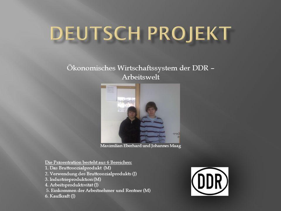 Deutsch Projekt Ökonomisches Wirtschaftssystem der DDR – Arbeitswelt
