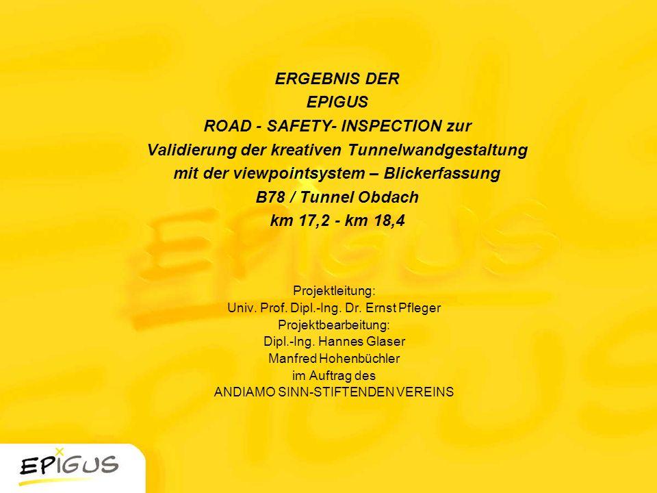 ERGEBNIS DER EPIGUS ROAD - SAFETY- INSPECTION zur Validierung der kreativen Tunnelwandgestaltung mit der viewpointsystem – Blickerfassung B78 / Tunnel Obdach km 17,2 - km 18,4
