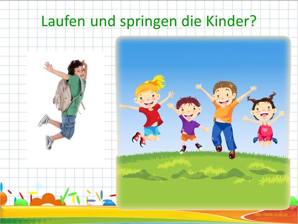 Laufen und springen die Kinder