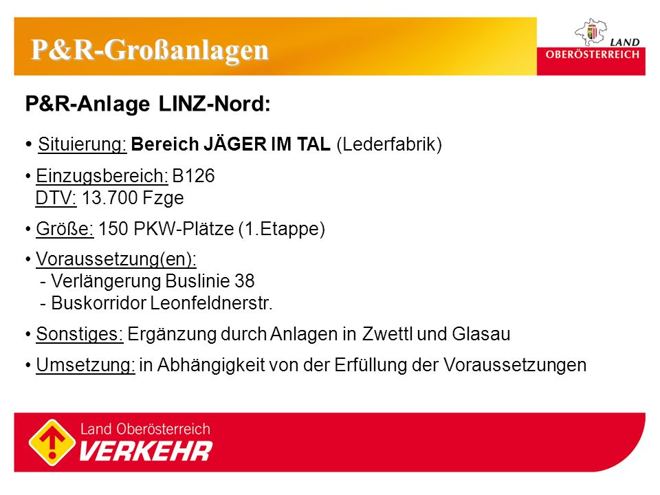 P&R-Großanlagen P&R-Anlage LINZ-Nord: