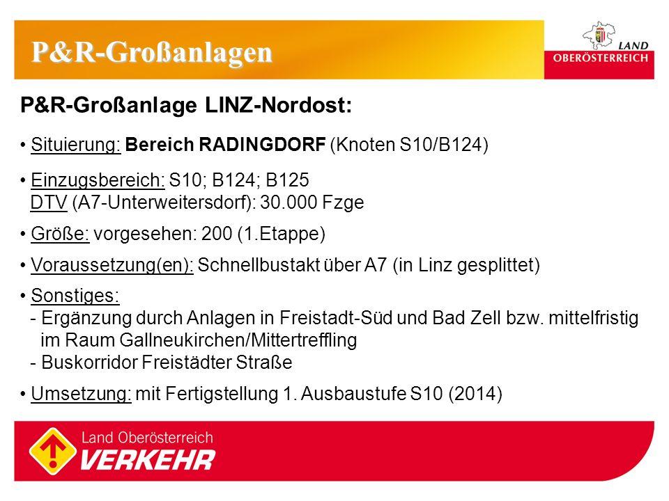 P&R-Großanlagen P&R-Großanlage LINZ-Nordost: