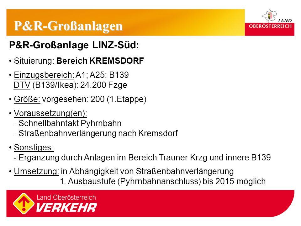 P&R-Großanlagen P&R-Großanlage LINZ-Süd: Situierung: Bereich KREMSDORF