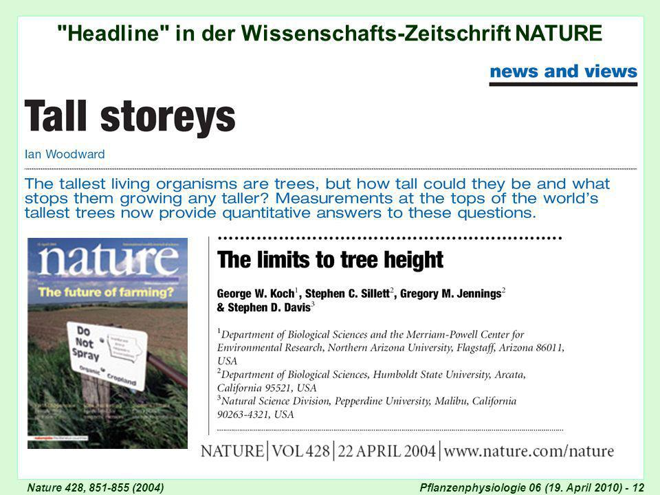 Headline in der Wissenschafts-Zeitschrift NATURE