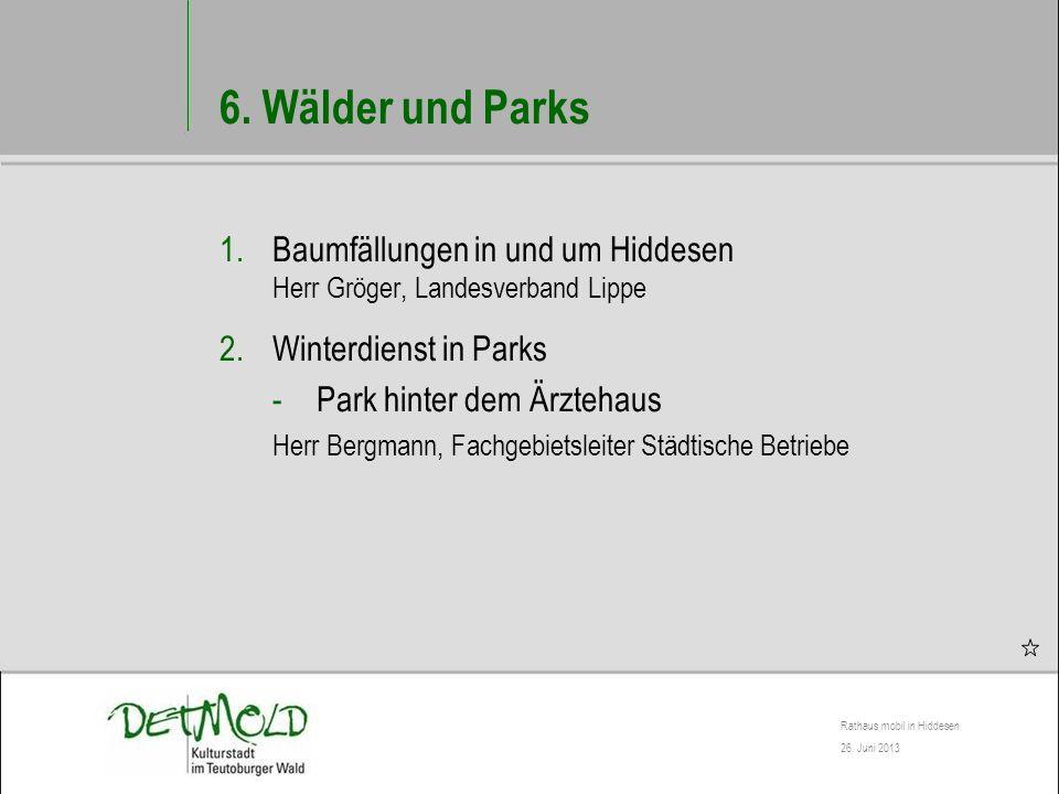 6. Wälder und Parks Baumfällungen in und um Hiddesen Herr Gröger, Landesverband Lippe. Winterdienst in Parks.