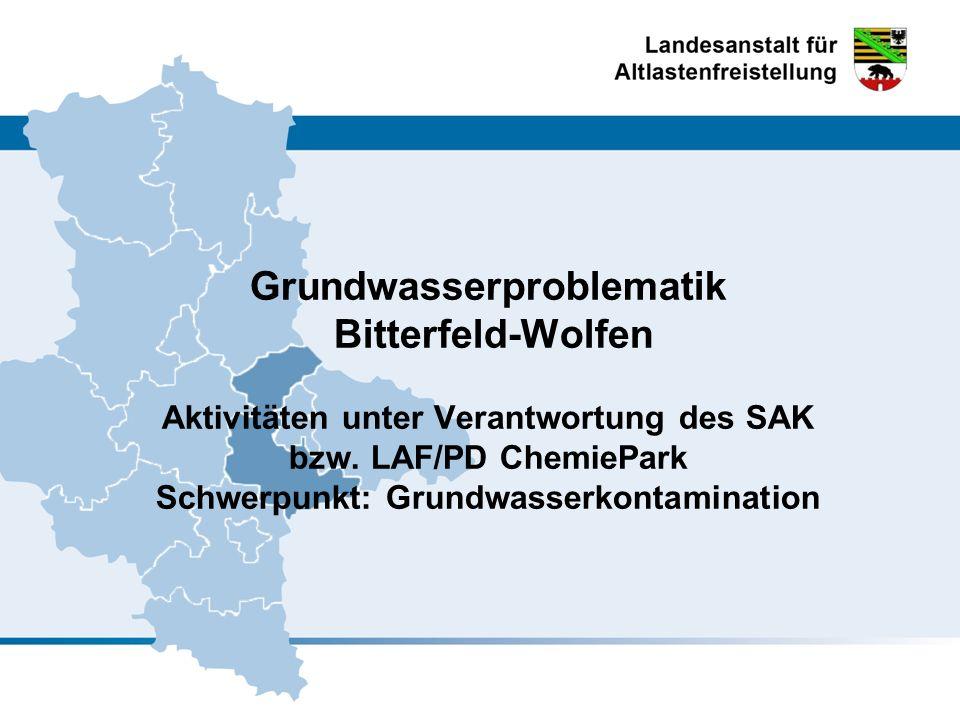 Grundwasserproblematik Bitterfeld-Wolfen Aktivitäten unter Verantwortung des SAK bzw.