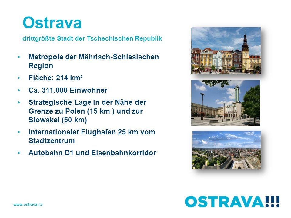 Ostrava Metropole der Mährisch-Schlesischen Region Fläche: 214 km²
