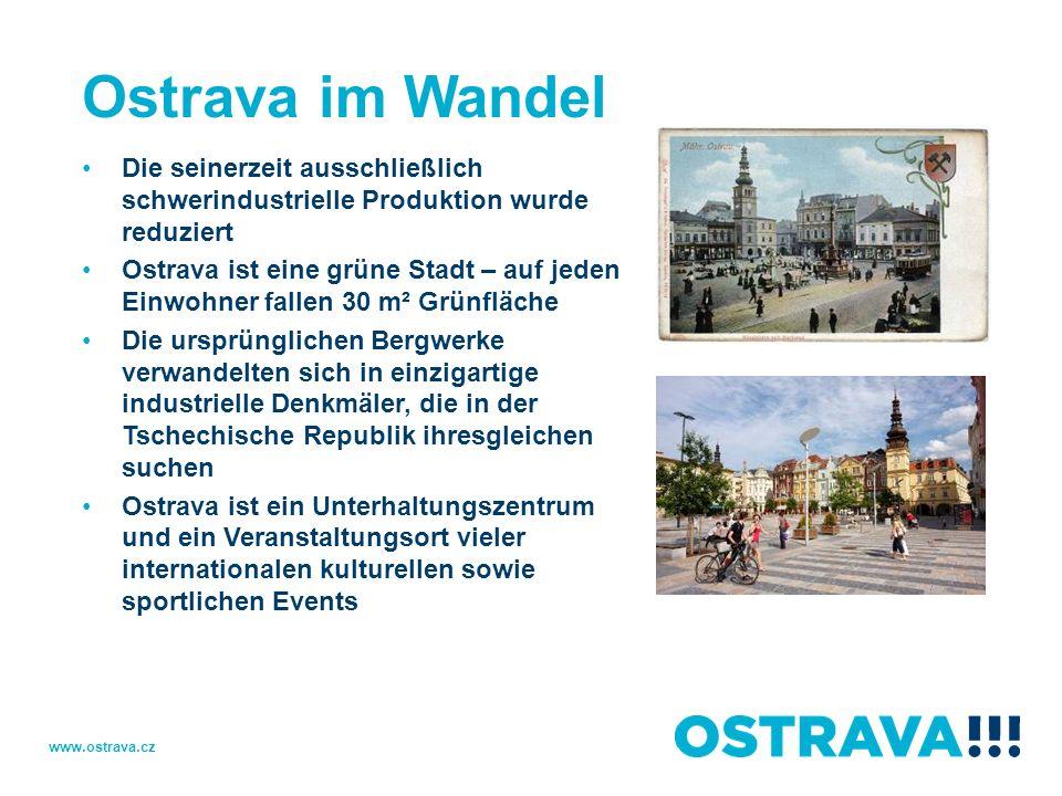 Ostrava im Wandel Die seinerzeit ausschließlich schwerindustrielle Produktion wurde reduziert.