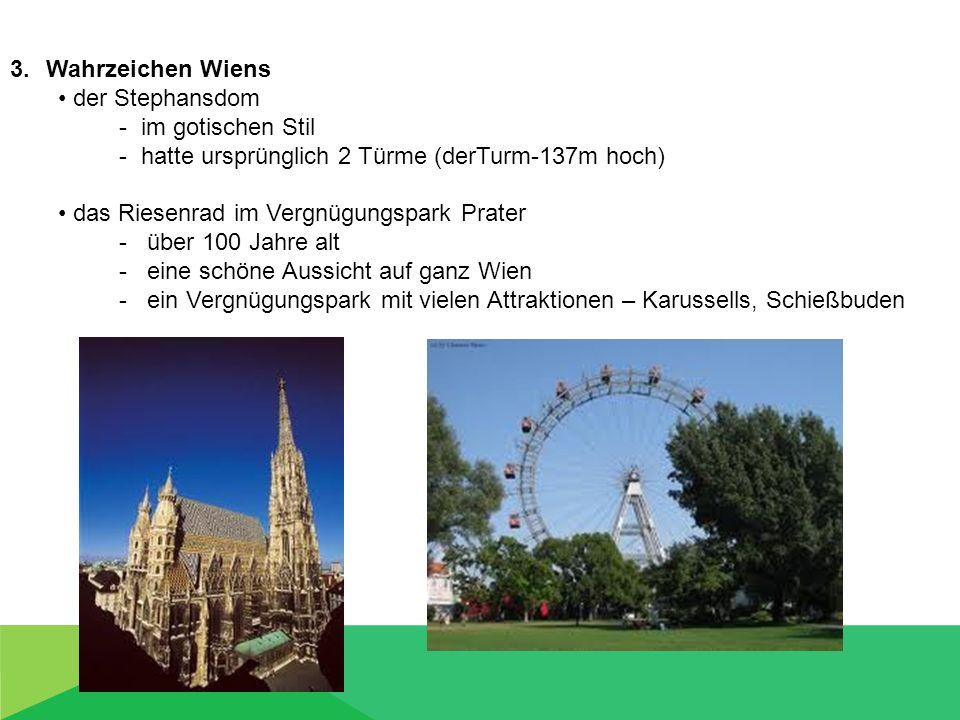 Wahrzeichen Wiens der Stephansdom. - im gotischen Stil. - hatte ursprünglich 2 Türme (derTurm-137m hoch)