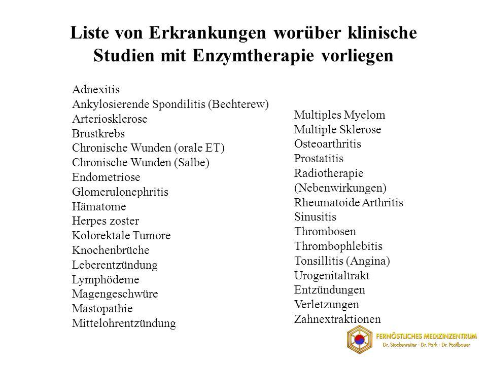 Liste von Erkrankungen worüber klinische Studien mit Enzymtherapie vorliegen