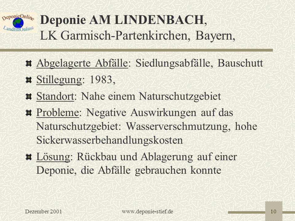 Deponie AM LINDENBACH, LK Garmisch-Partenkirchen, Bayern,