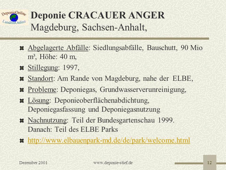 Deponie CRACAUER ANGER Magdeburg, Sachsen-Anhalt,