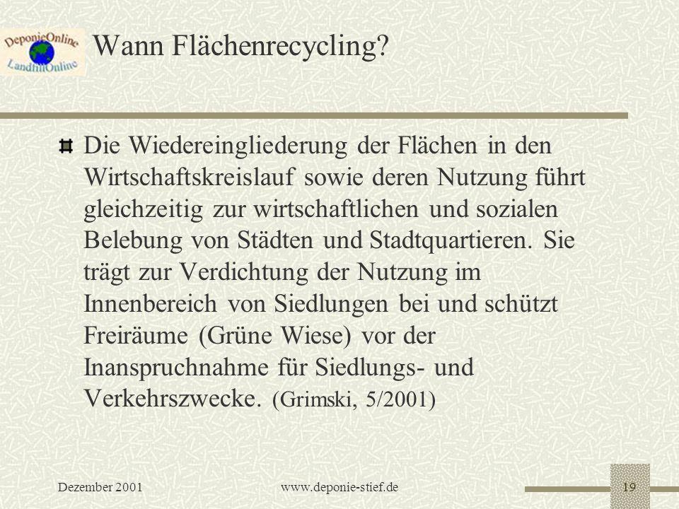 Wann Flächenrecycling