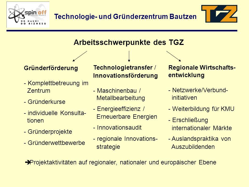 Arbeitsschwerpunkte des TGZ