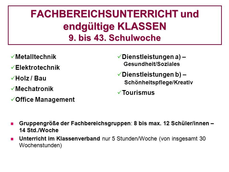 FACHBEREICHSUNTERRICHT und endgültige KLASSEN 9. bis 43. Schulwoche