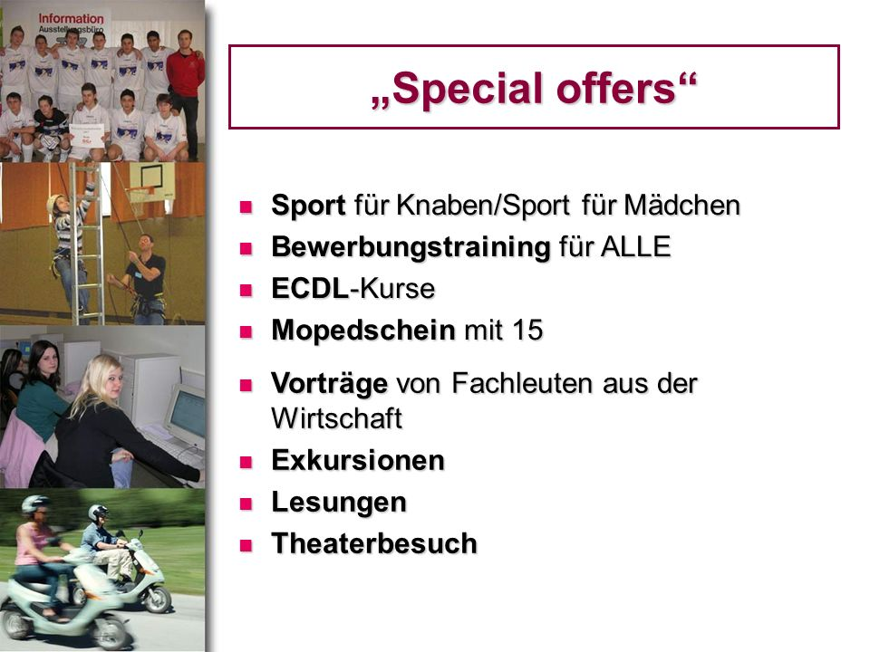 """""""Special offers Sport für Knaben/Sport für Mädchen"""