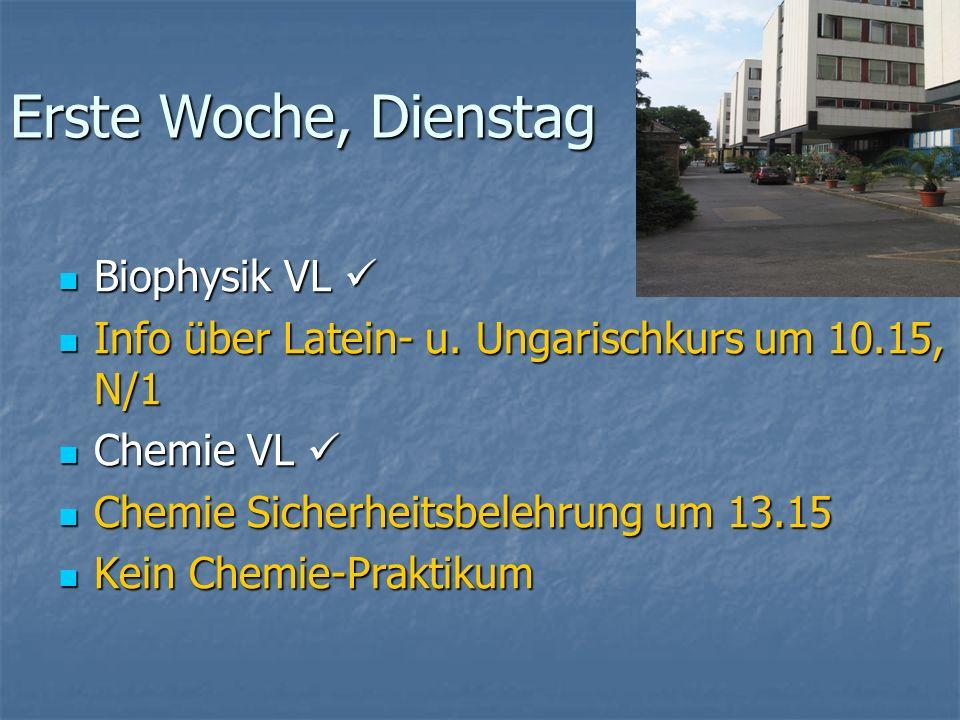Erste Woche, Dienstag Biophysik VL 