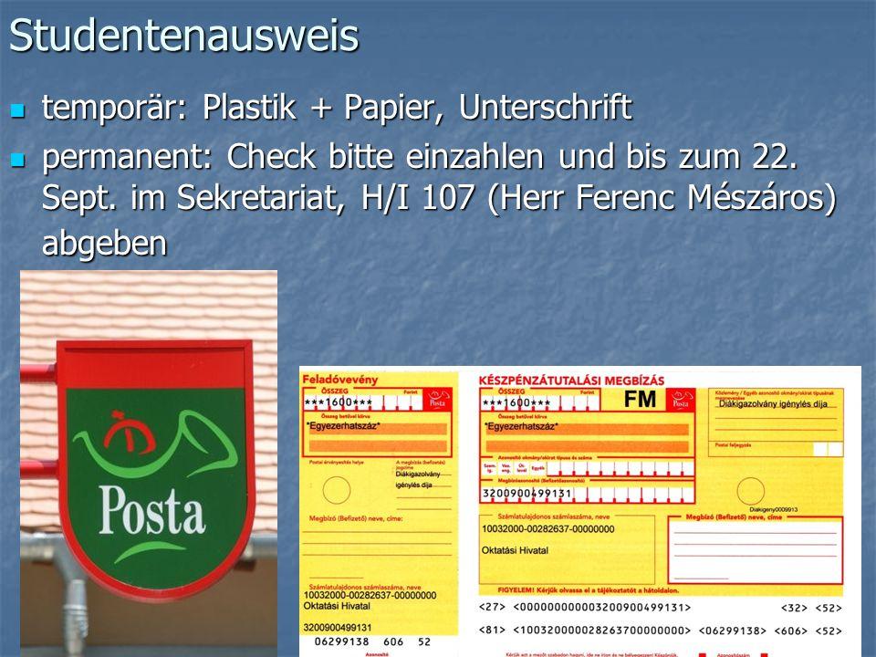 Studentenausweis temporär: Plastik + Papier, Unterschrift