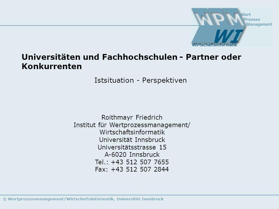 Universitäten und Fachhochschulen - Partner oder Konkurrenten