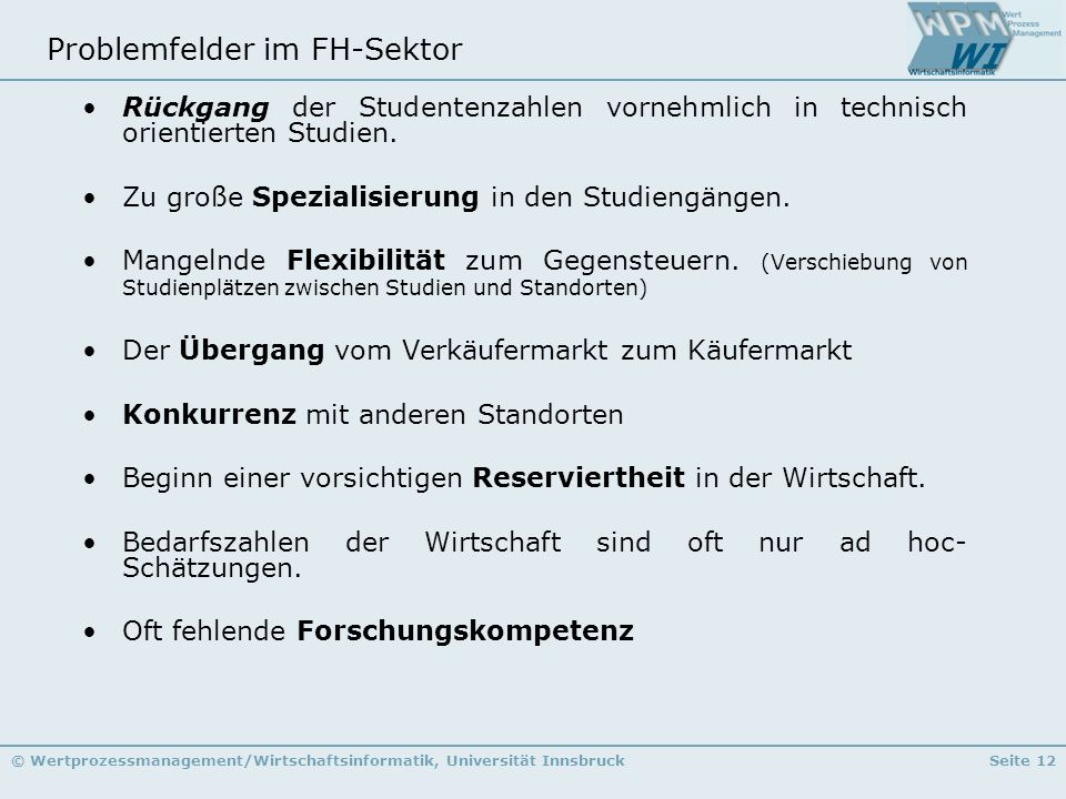 Problemfelder im FH-Sektor
