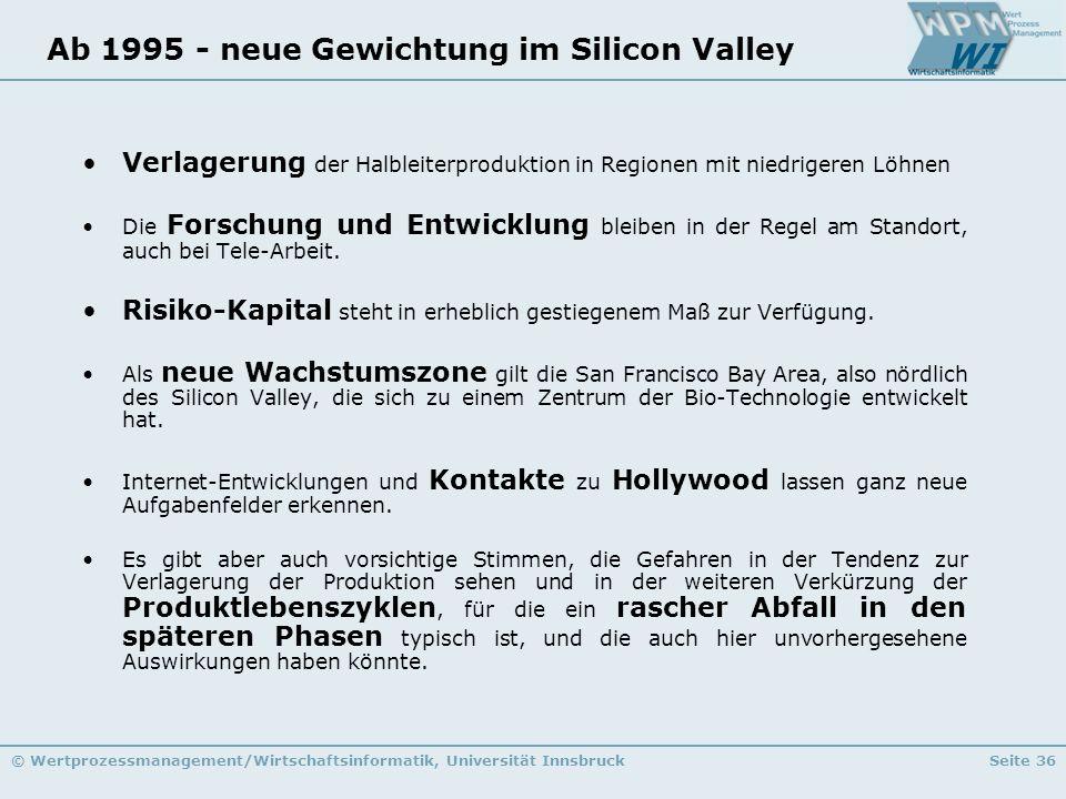 Ab 1995 - neue Gewichtung im Silicon Valley