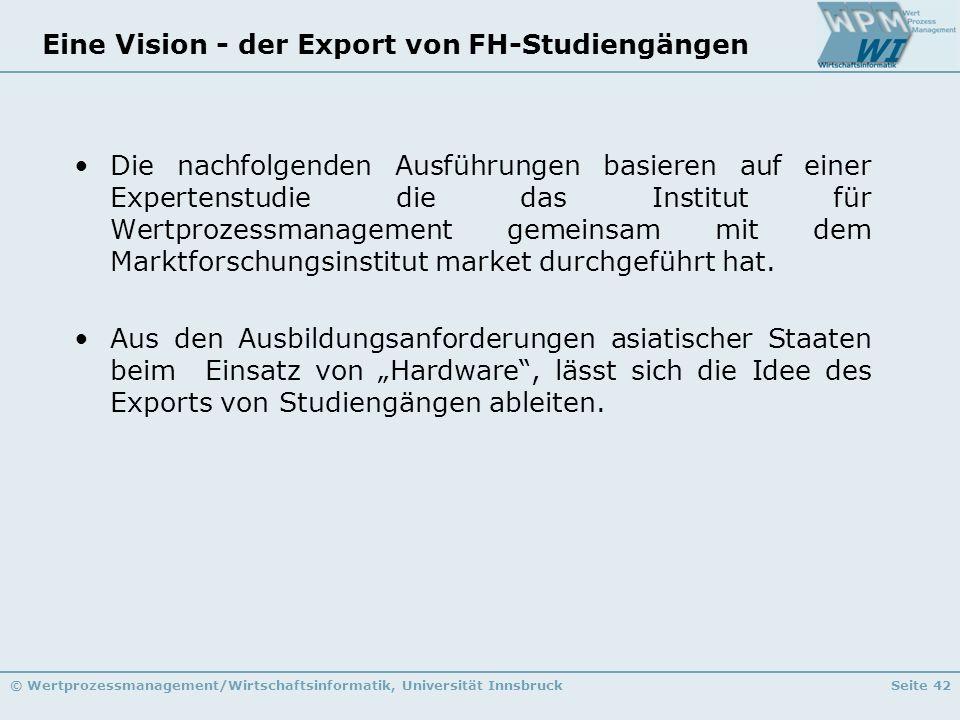 Eine Vision - der Export von FH-Studiengängen