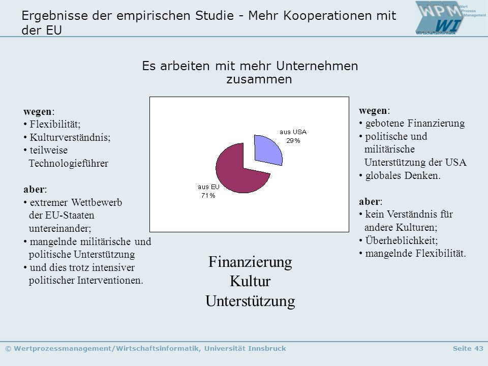 Ergebnisse der empirischen Studie - Mehr Kooperationen mit der EU