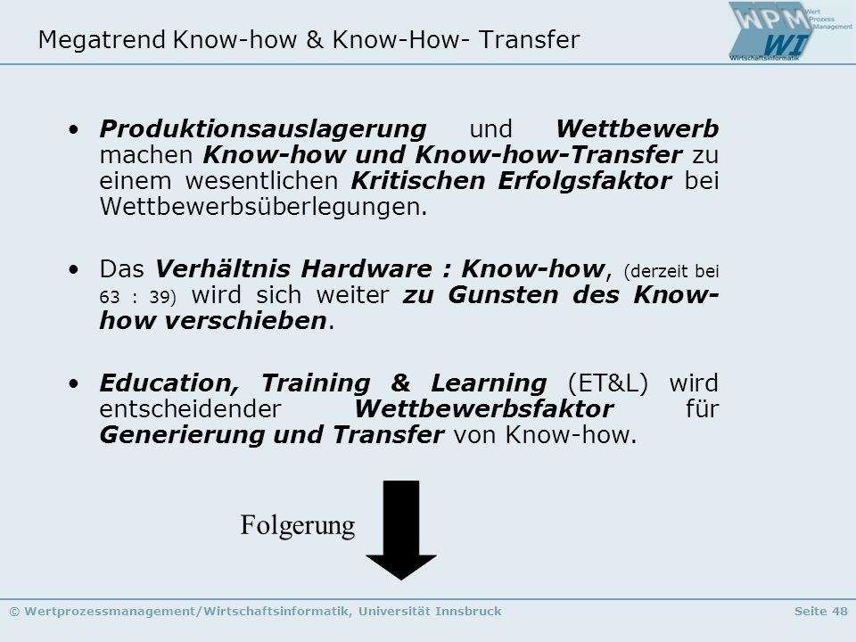 Megatrend Know-how & Know-How- Transfer