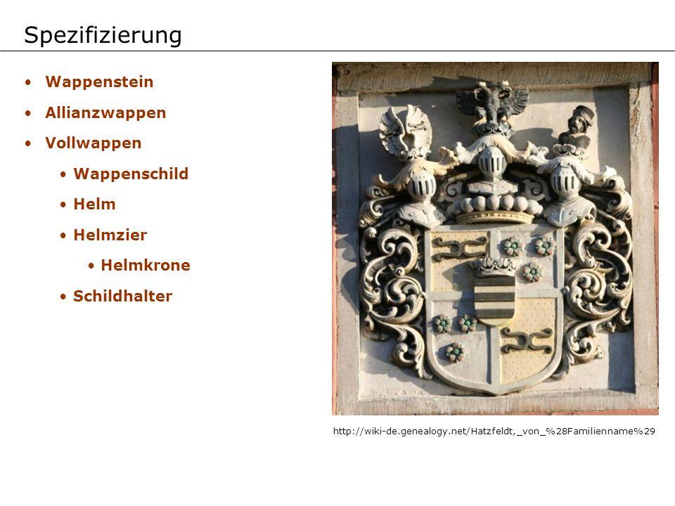 Spezifizierung Wappenstein Allianzwappen Vollwappen Wappenschild Helm