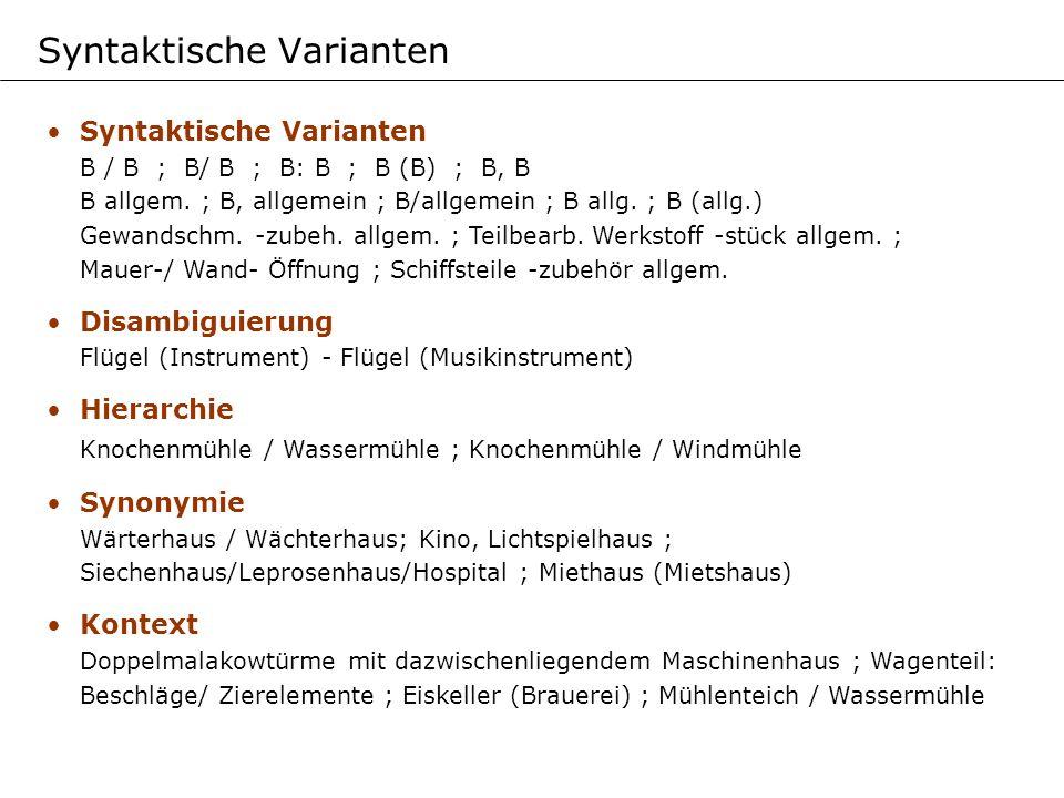 Syntaktische Varianten