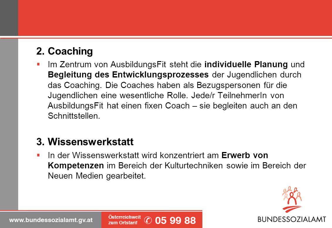 2. Coaching 3. Wissenswerkstatt