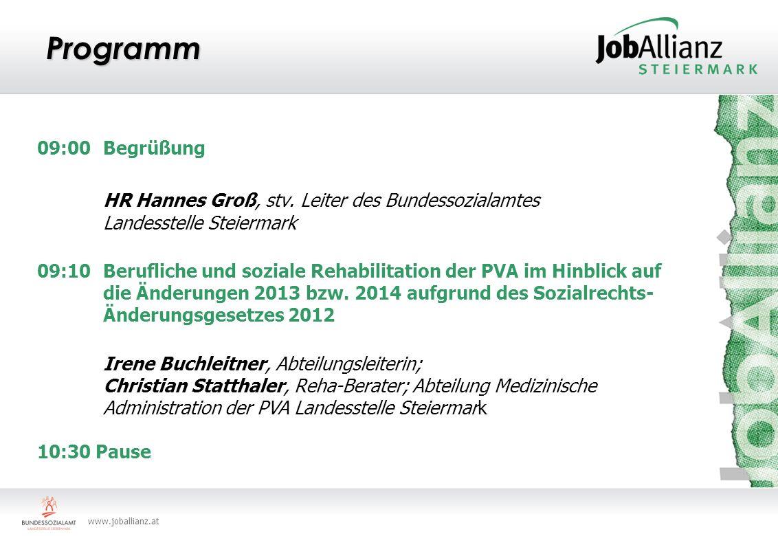 Programm 09:00 Begrüßung. HR Hannes Groß, stv. Leiter des Bundessozialamtes Landesstelle Steiermark.