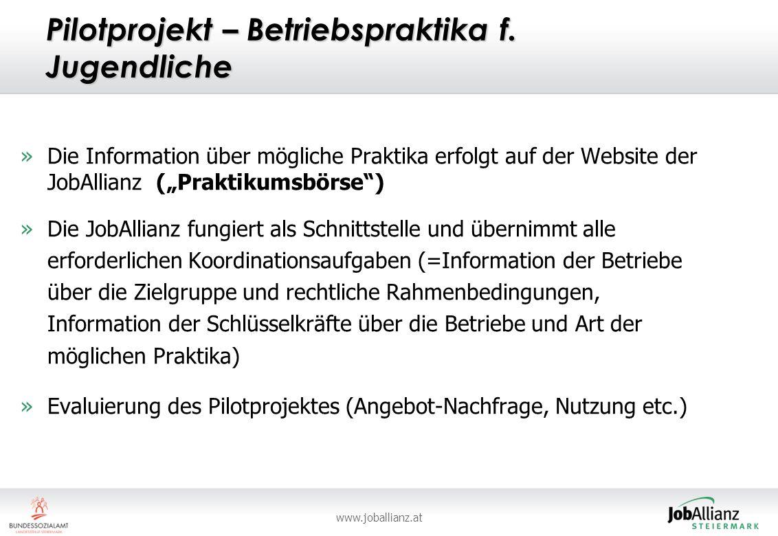 Pilotprojekt – Betriebspraktika f. Jugendliche