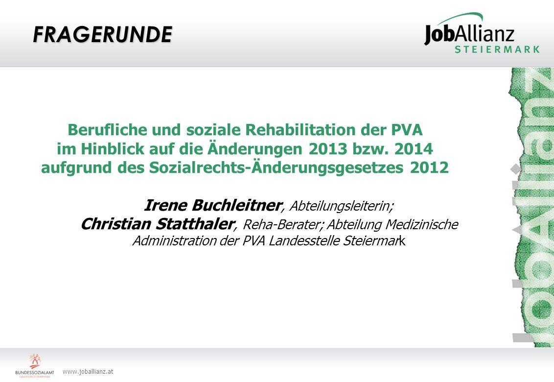 FRAGERUNDE Berufliche und soziale Rehabilitation der PVA