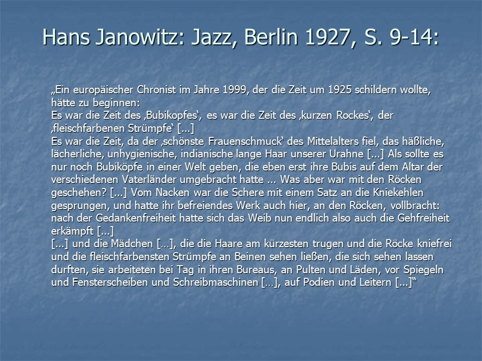 Hans Janowitz: Jazz, Berlin 1927, S. 9-14: