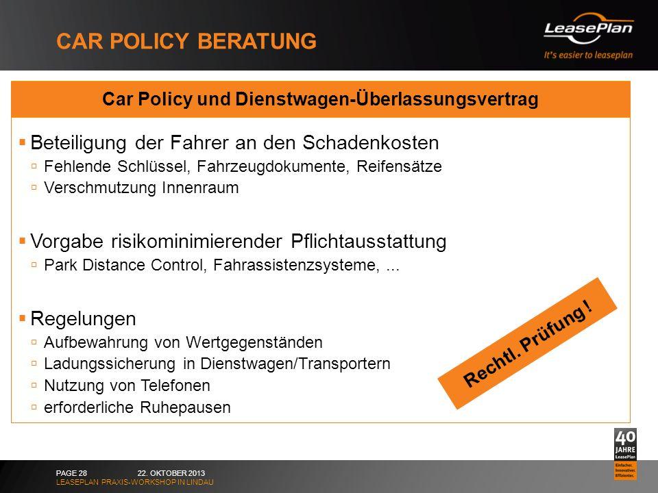 Car Policy und Dienstwagen-Überlassungsvertrag