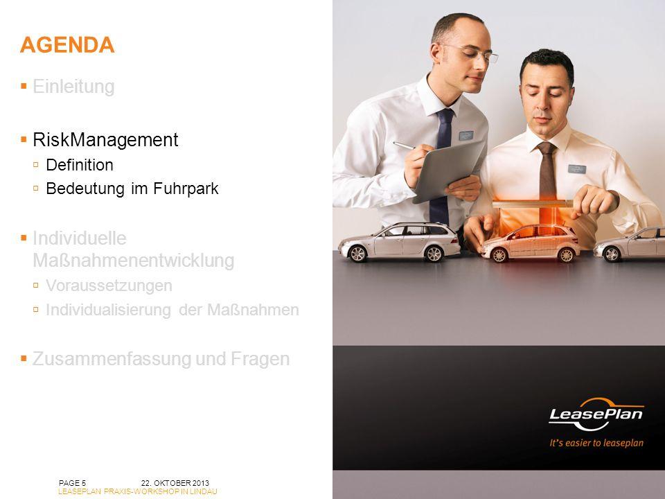 agenda Einleitung RiskManagement Individuelle Maßnahmenentwicklung