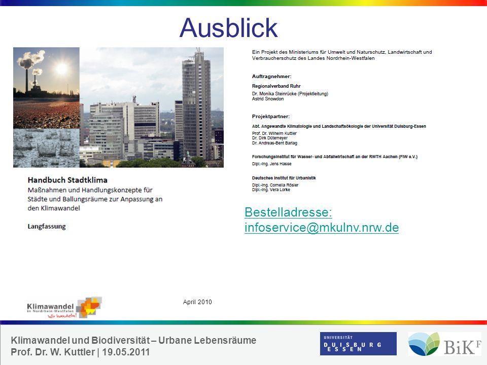 Ausblick Bestelladresse: infoservice@mkulnv.nrw.de April 2010