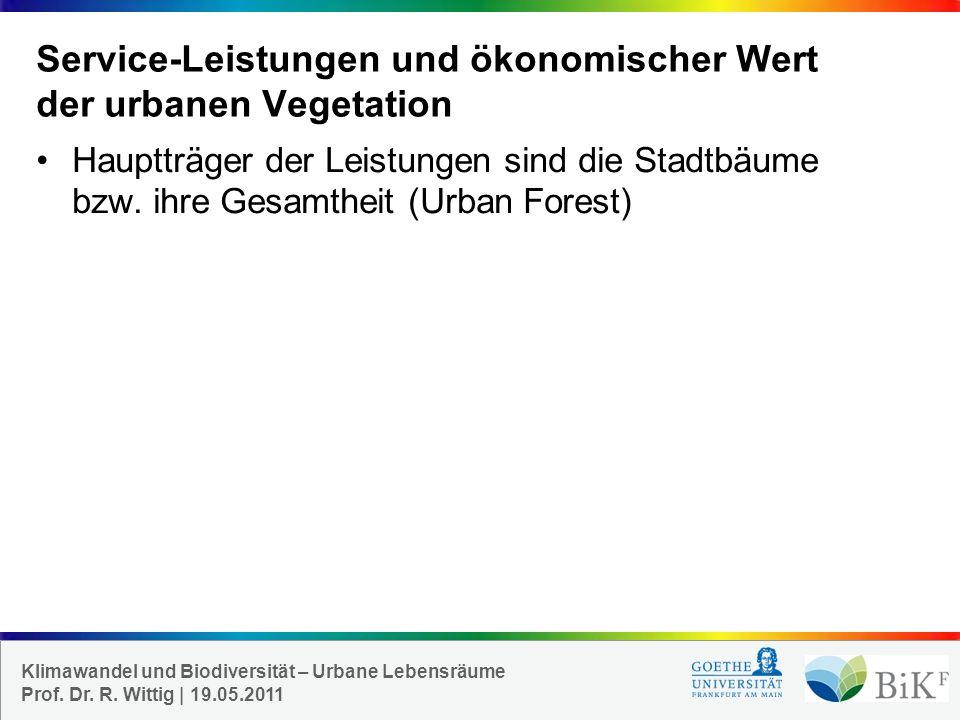 Service-Leistungen und ökonomischer Wert der urbanen Vegetation