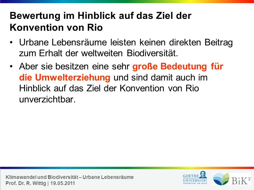 Bewertung im Hinblick auf das Ziel der Konvention von Rio