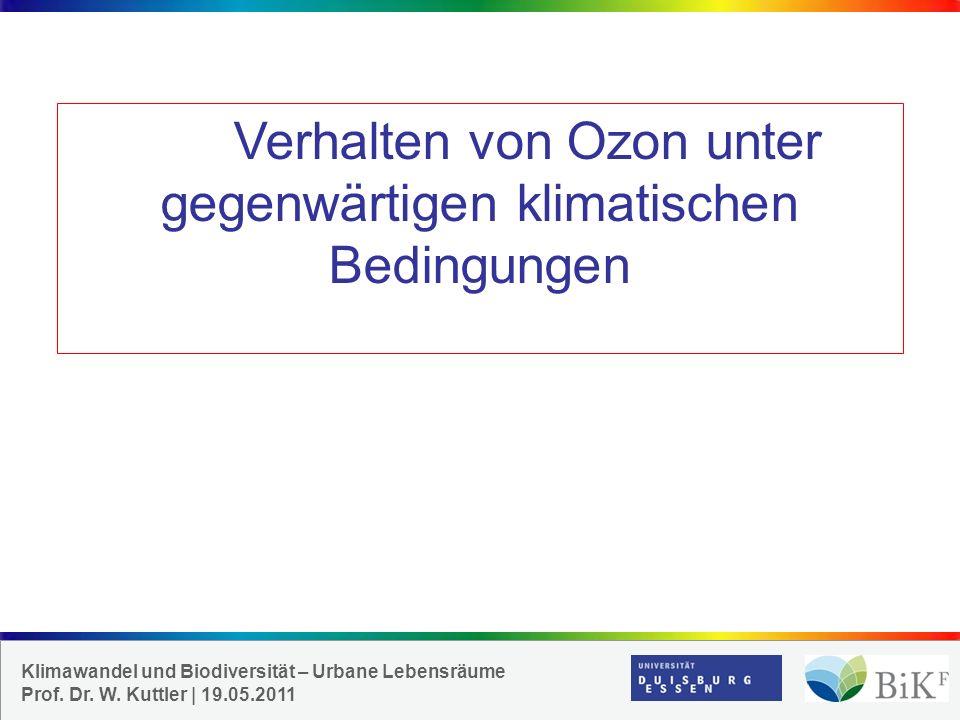 Verhalten von Ozon unter gegenwärtigen klimatischen Bedingungen