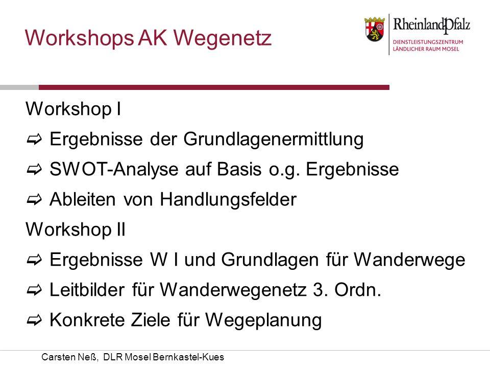 Workshops AK Wegenetz Workshop I Ergebnisse der Grundlagenermittlung