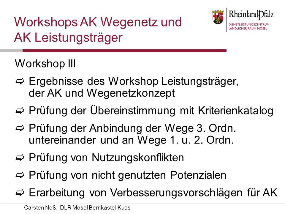 Workshops AK Wegenetz und AK Leistungsträger