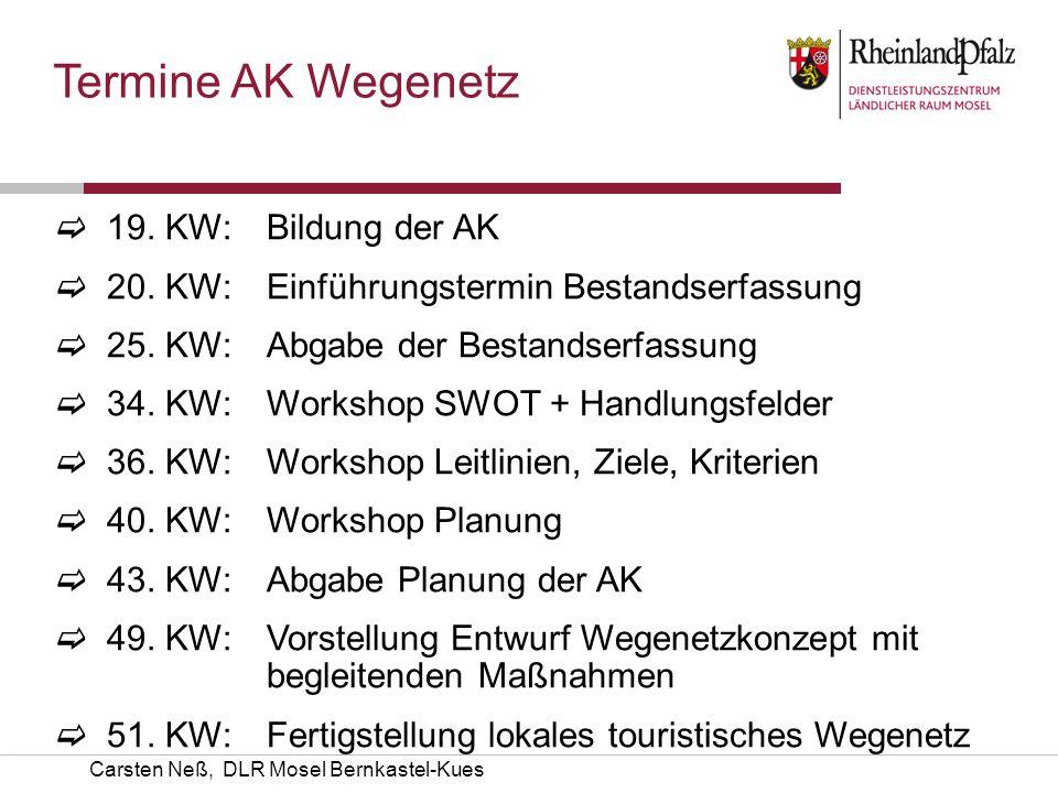Termine AK Wegenetz 19. KW: Bildung der AK