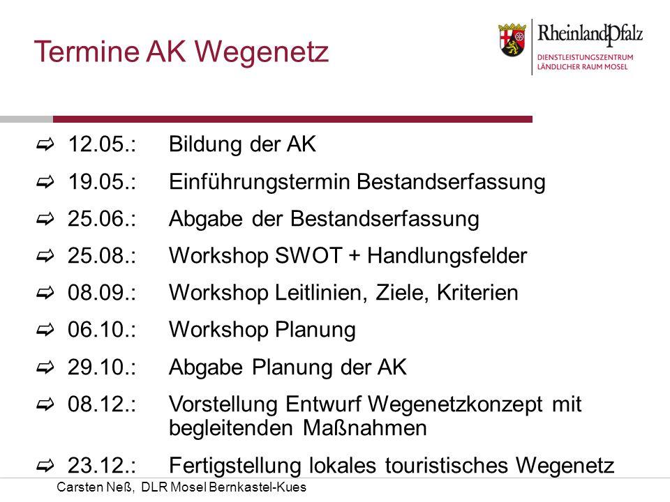Termine AK Wegenetz 12.05.: Bildung der AK