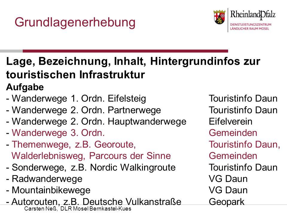 Grundlagenerhebung Lage, Bezeichnung, Inhalt, Hintergrundinfos zur touristischen Infrastruktur. Aufgabe Kümmerer.