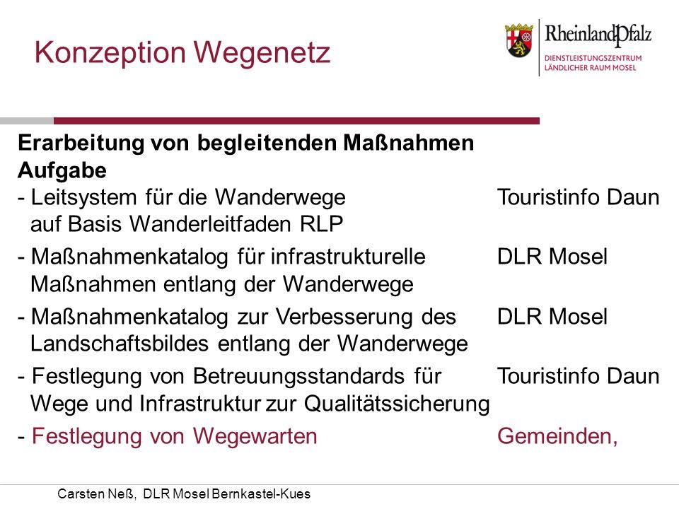 Konzeption Wegenetz Erarbeitung von begleitenden Maßnahmen