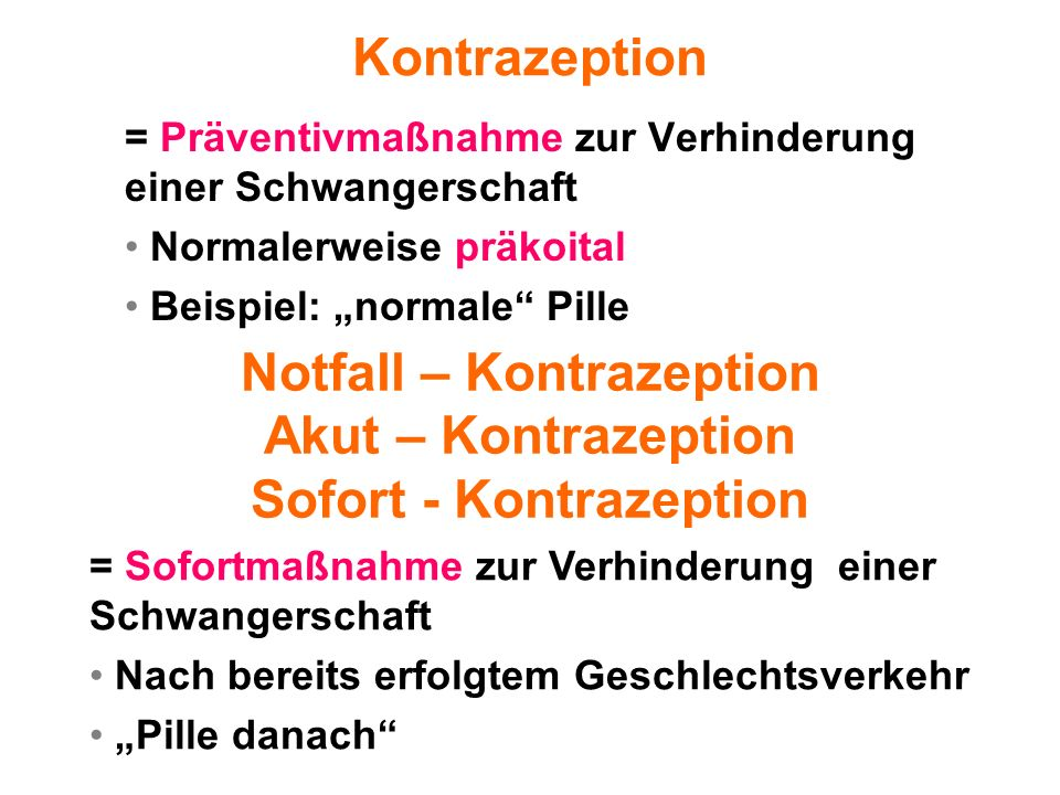 Notfall – Kontrazeption Sofort - Kontrazeption