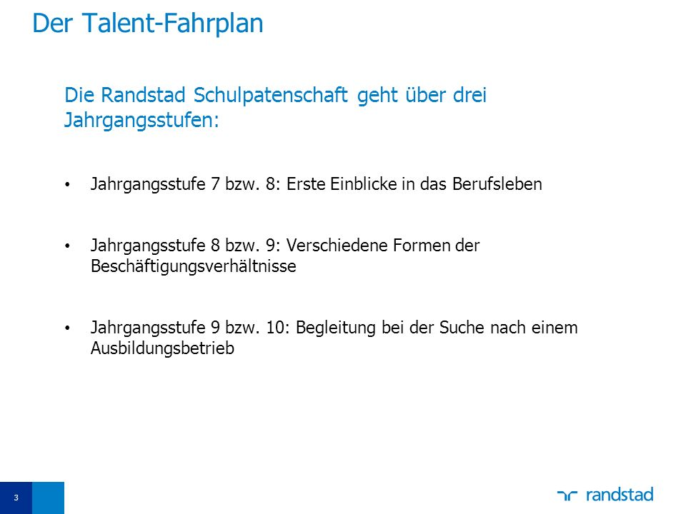 Der Talent-Fahrplan Die Randstad Schulpatenschaft geht über drei Jahrgangsstufen: Jahrgangsstufe 7 bzw. 8: Erste Einblicke in das Berufsleben.