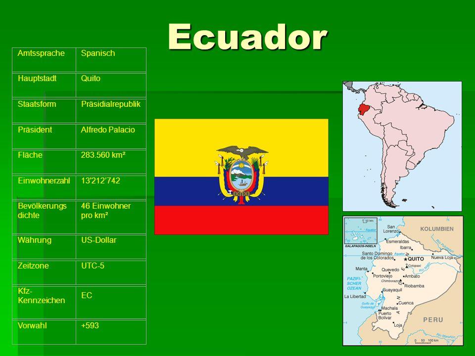 Ecuador Amtssprache Spanisch Hauptstadt Quito Staatsform
